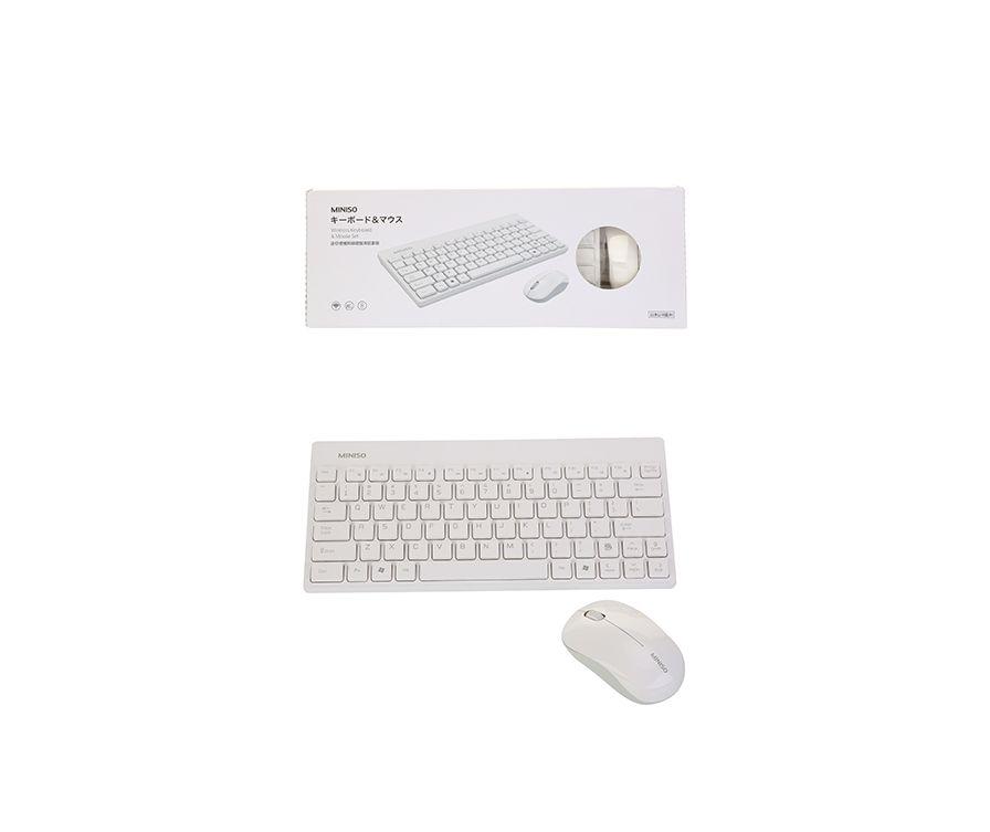 Мышь беспроводная и клавиатура, цвет белый/серый, клавиатура , мышь