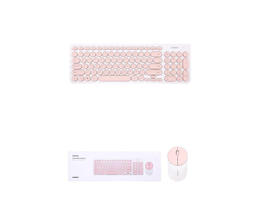 Модная беспроводная клавиатура и мышь (белый + розовый) Модель: IK6630