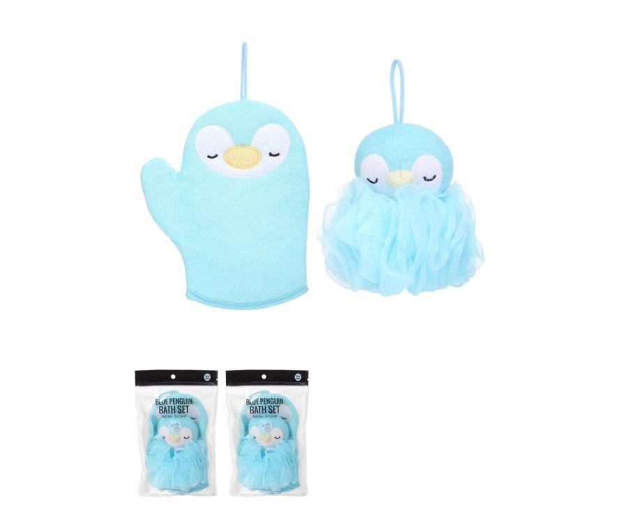Ванный набор мочалок синий пингвин (Ванная перчатка + ванная губка)