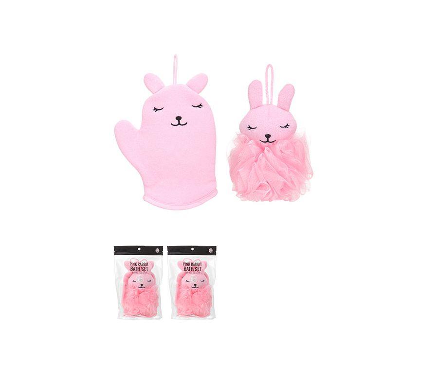 Ванный Набор-розовый кролик (Ванная перчатка + ванная губка)