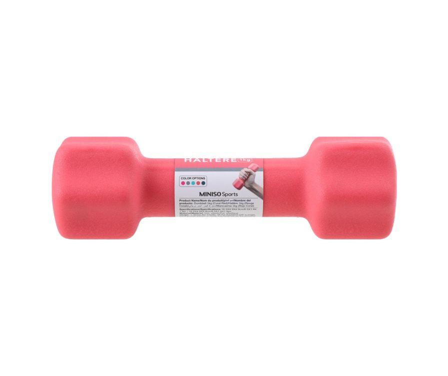 Гантель 1 кг (кораллово-красный)