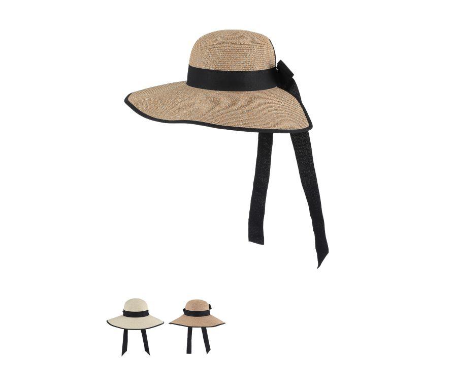 Соломенная шляпа с широкими полями и завязками  Elegance Series