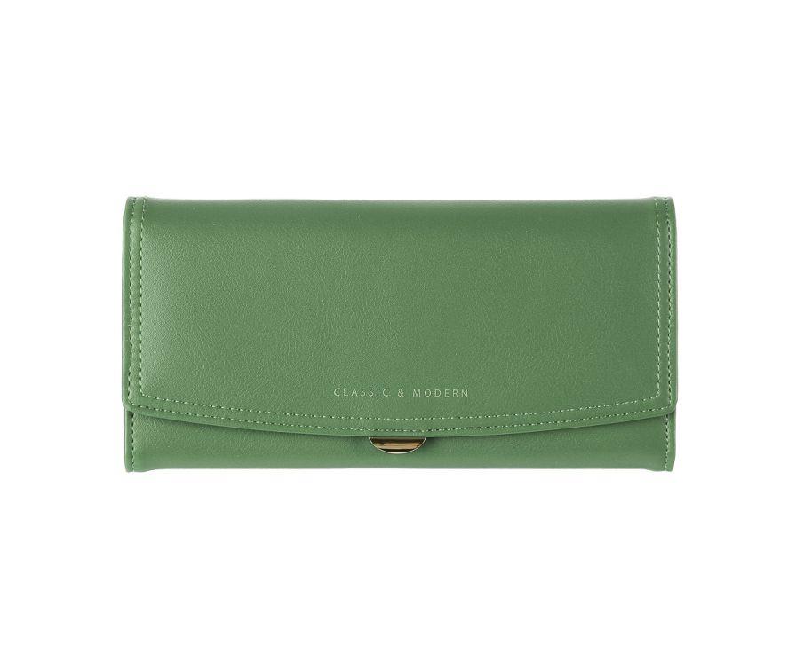 Двухцветный длинный кошелек (зеленый)