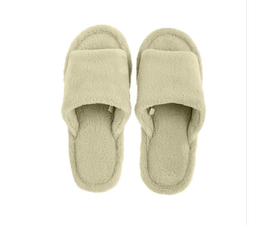 Комфортные женские тапочки с открытым носком (бледно-зеленые, 39/40)