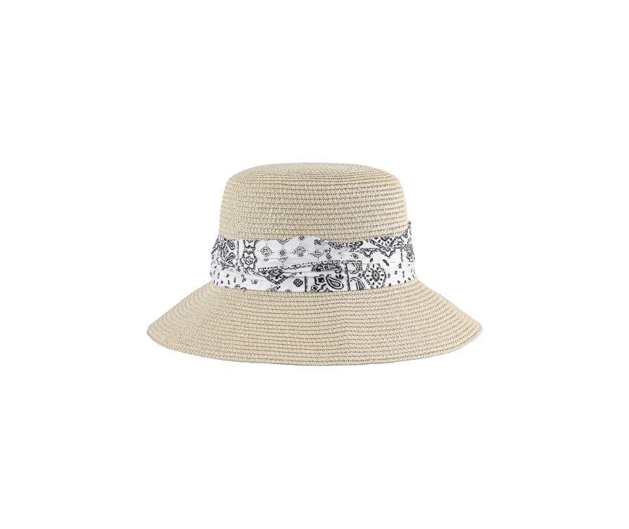 Соломенная шляпа с пейсли в британском стиле (кремово-белый)