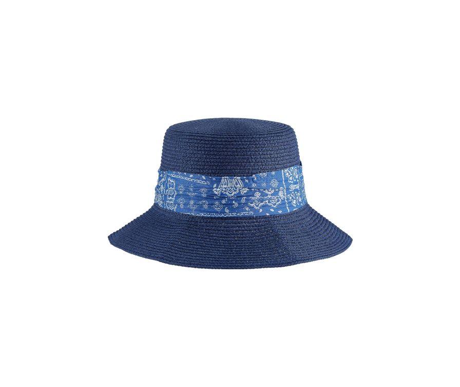 Соломенная шляпа с пейсли в британском стиле (темно-синий)