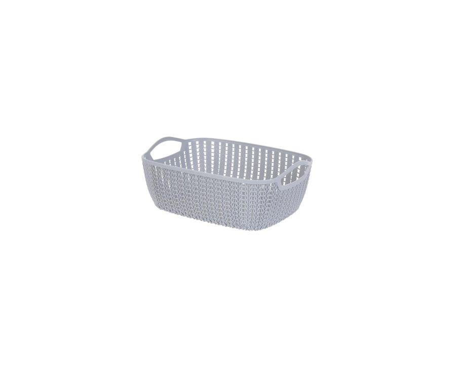 Средне-плетеное прямоугольное ведро для хранения (темно-серый)