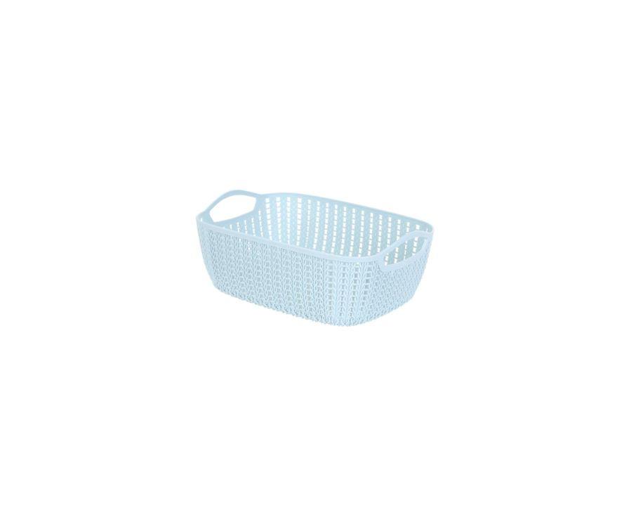 Средне-плетеная прямоугольная корзина для хранения (синее)