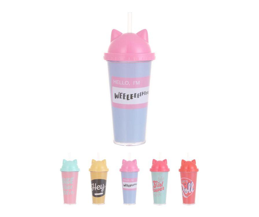 Разноцветный стакан с соломинкой 420мл