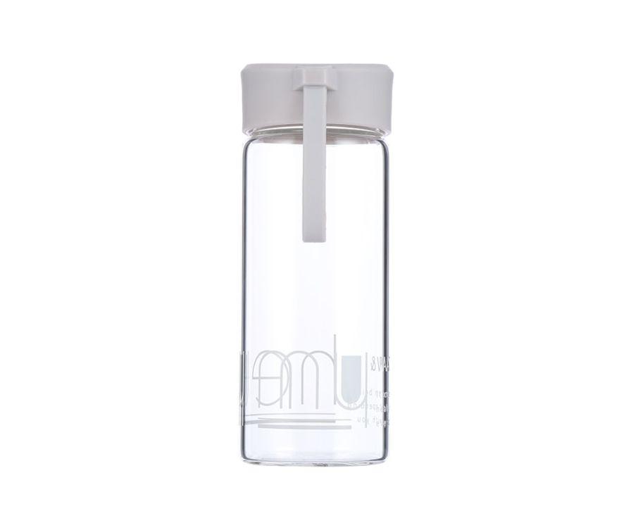 Стеклянная бутылка для питья воды (серый)