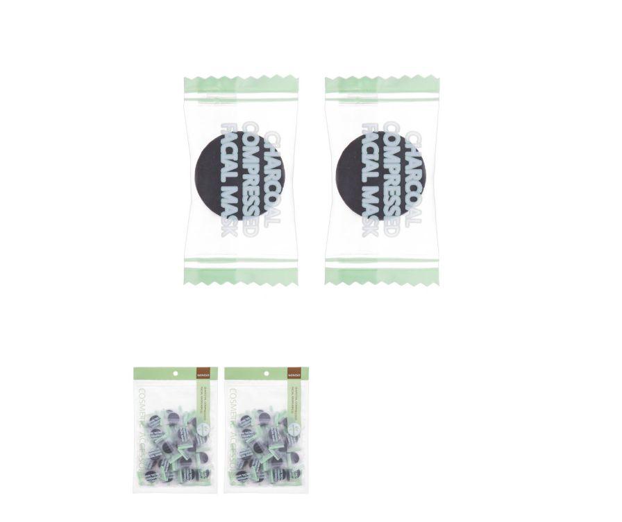 Салфетки спресованные для масок на лицо Древесный уголь, 40 шт