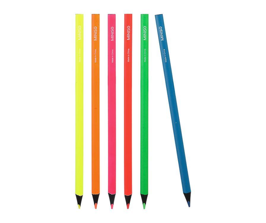 Набор неоновых карандашей-хайлайтер 6 штук-M001