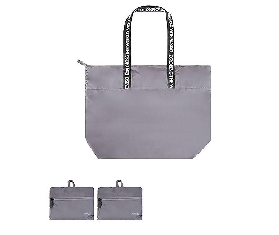 MINIGO трапециевидная складная сумка на одно плечо (серая)