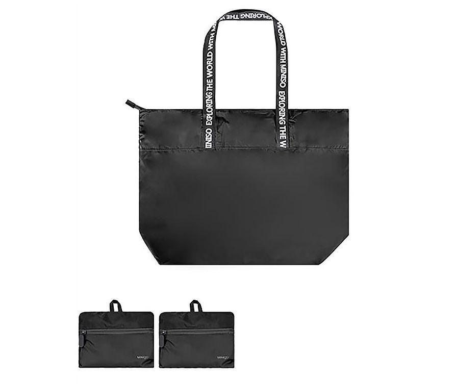 MINIGO трапециевидная складная сумка на одно плечо (черная)