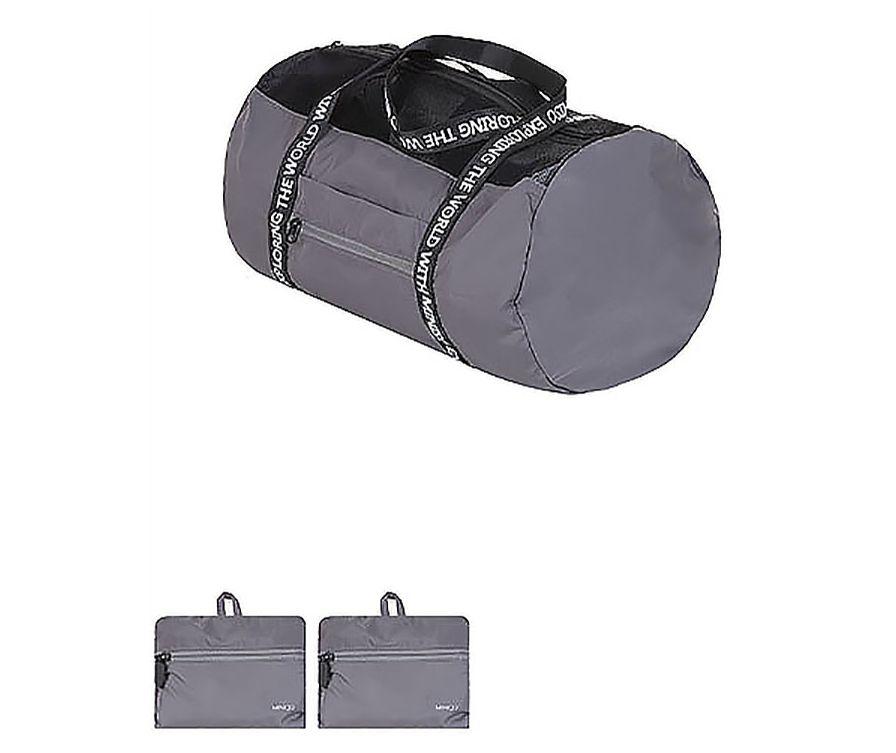 Круглая багажная складная сумка (серая)
