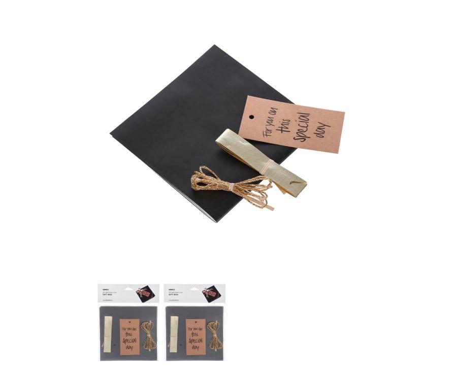Набор для подарочной упаковки, цвет черный, Открытка, Золотая нить, Лента, Оберточная бумага