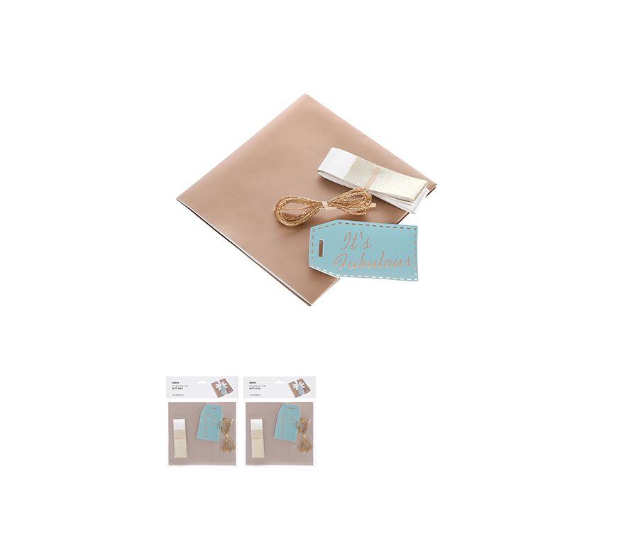 Набор для подарочной упаковки, цвет золотой, Открытка, Золотая нить, Лента , Оберточная бумага, Открытка